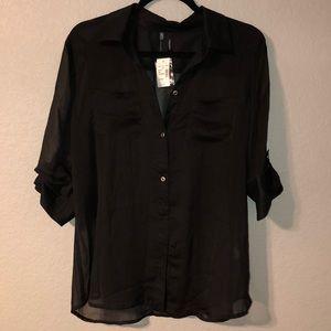 NWT sheer black blouse